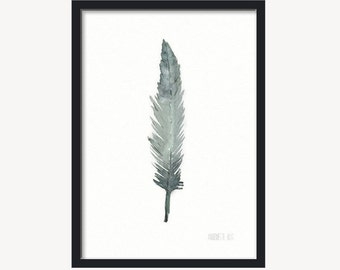 Green Feather art work - from original watercolor painting - Bird feather art print - handpainted watercolor - Modern single feather artwork