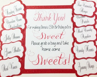 Candy Buffet Jar Tags and Welcome Sign Set, Candy Tags, Candy Bar Labels