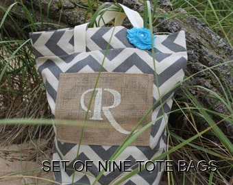 9 Bridesmaid Gifts, Beach Bags, Gray Chevron Bags, Rustic Tote Bags