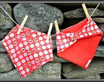 Red Hearts Bandanna Baby Bib