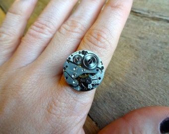 Steampunk Antique Monarch Movement Adjustable Ring