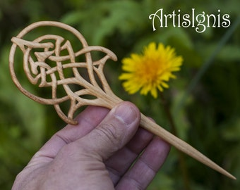 "Hair Stick ""Art Nouveau Celtic Tree of Life"", Handmade Linden Wood Hair Pin, Handcarved Celtic Knot Accessories,Gift for her - MADE TO ORDER"