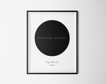 Edgar Allan Poe Literary Print - Bookish Quote Digital Print