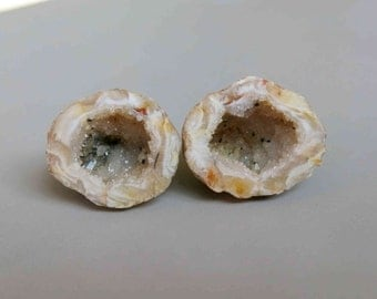 Natural Druzy Agate Occo Oco Geode  - Matching Pair C3708