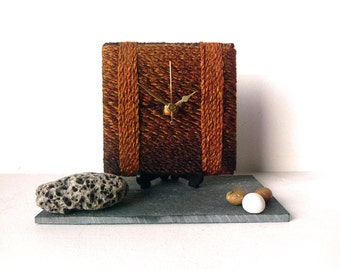 Wool Desk Clock Small Wall Clock Marbled Chunky Wool Gold Brown Green Blue Autumn Fall