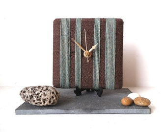 Wool Desk Clock Sage Green and Brown Chocolate Yarn Square Clock