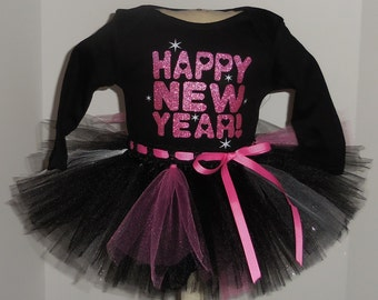 nb 0/3 3/6 18 24 months  pink Happy New Year Onesie and Tutu outfit set  Baby's 1st New Year's 2016 holiday m month size newborn