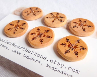 Wooden Buttons Handmade, Small Snowflake Buttons, 3/4 Inch or 20mm, Handmade Buttons  6 pce