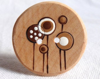 "Large Flower Buttons, Handcrafted Wooden Buttons,  Wood Flower Button 1.5"" or 38mm  1pce"
