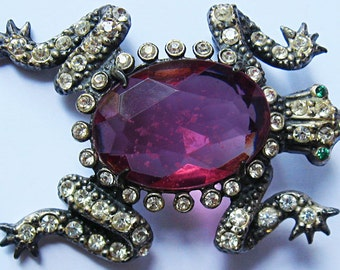 Vintage 1940's Faceted Bright PINK Glass BELLY Sparkling Rhinestones FROG Pin Brooch