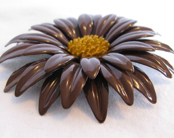 "HUGE (3 & 1/4"") Chocolate Brown Layered Metal Daisy Brooch, Yellow Stamen Center, Retro 1970's"