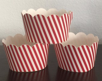 12 Cupcake Wrappers - Red and White Stripe
