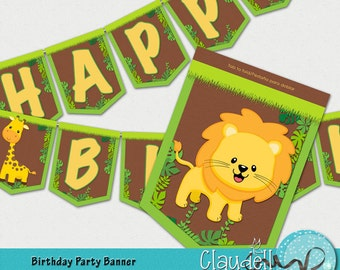 Jungle Party Birthday Party Printable Banner - 300 DPI