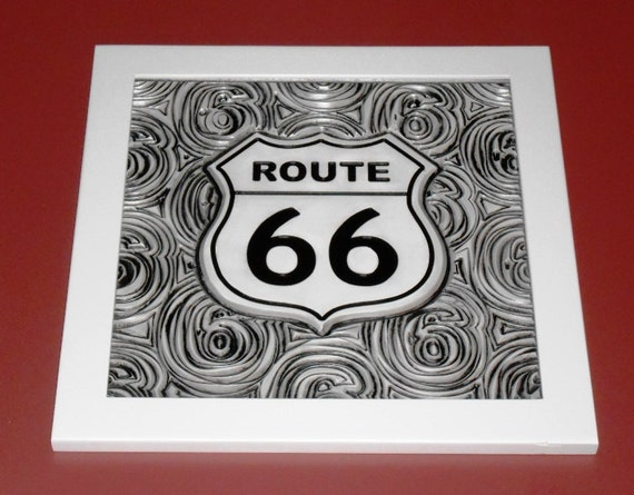 "3D Engraved Route 66 Plaque. This measures Approx. 18"" X18"" is hand painted and includes the hardwood frame as shown."