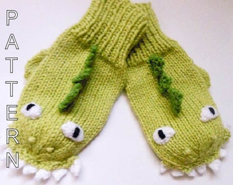 Knitting Pattern - Dinosaur Dragon Mittens, Animal Mittens, Character Mittens, Gloves, Hand Warmers