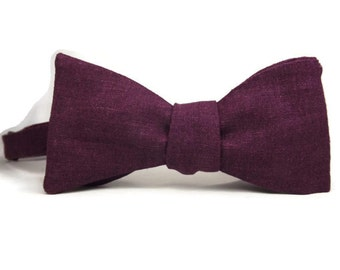 Plum Linen bowtie, purple bowtie, Autumn bowtie, orchid bowtie, mens bowtie, fall colors, self tie pre tied, purple linen, plum bowtie