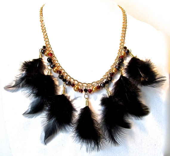 Black And Gold Feather Necklace Marsala Black And Gold Feather