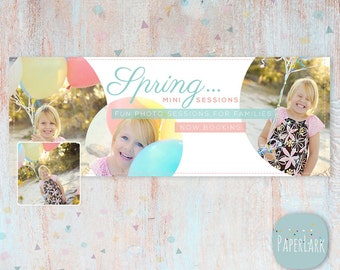 Spring Facebook Timeline - photoshop template -  HE003 - INSTANT DOWNLOAD