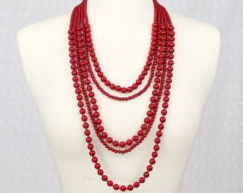Multi Strand Statement Necklace Multi Layered Beads Statement Necklace Red Statement Necklace Long Necklace Five Strand Necklace