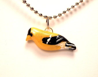 Bright Little Goldfinch Paint-Detailed Yellow Pendant in Polymer Clay