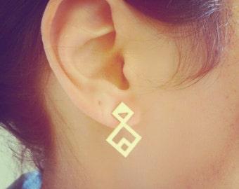 Rhombus Twain Earrings, Rhombus Earrings, Geometric Earrings, Gold Earrings, Geometric Jewelry, Minimalist Jewelry, Triangle
