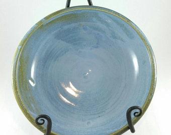 Blue Handmade Ceramic Pottery Serving Bowl - handmade pottery ceramic clay serving bowl  blue glaze