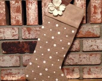 Burlap White Flower Polka Dots Stocking