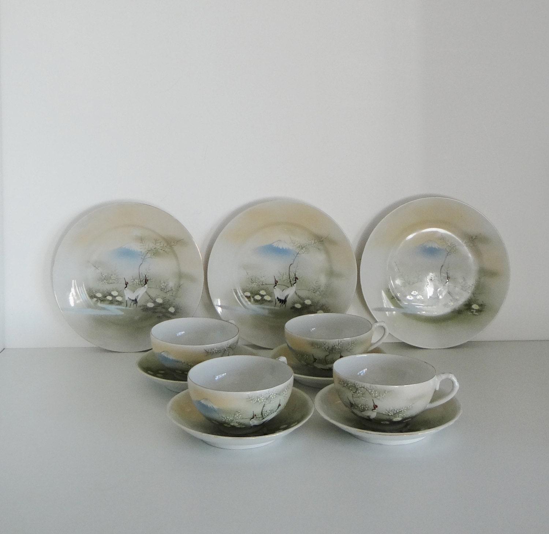 Vintage Tea Set Japanese Eggshell Porcelain Hand Painted