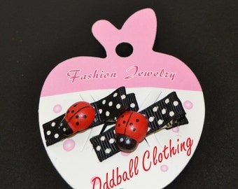Set of 2 Little Girls Lady Bug Hair Clippies - Red Black Poka Dots