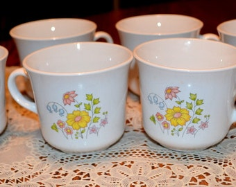 """Vintage Corelle Coffee Cups By Corning """" Meadow Floral """""""