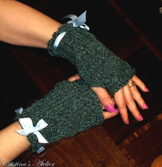 Green tweed knitted fingerless gloves with bow. Handmade knitted women gloves.Chic knitted gloves. Fashion fingerless gloves.Winter gifts