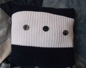 Recycled Sweater Pillow. Navy Blue & White stripe. Anchor Buttons