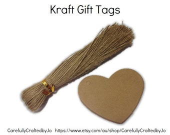 Heart Kraft Gift Tag - Set of 25, 50,100 +Twines - Perfect for Perfect for wedding, baby shower favours, goodie bag tags