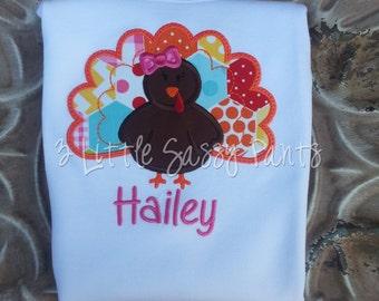 Thanksgiving Turkey Embroidered Shirt- Turkey Applique Shirt- Thanksgiving Applique Shirt- Custom- Girl Turkey- Girly Turkey