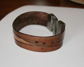 Eco friendly brown leather cuff, Tooled leather bracelet with stainless steel clasp, Vegetable tanned leather cuff