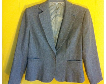 Vintage Grey 3/4 Sleeve Wool Blazer with pockets, Size M