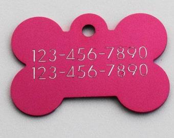Hot Pink Aluminum Engraved Dog or Pet ID Tag