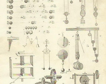 Mechanics Engineering Pulley Weights Science Antique Steel Engraving Print 1812 Vintage Print Wall Art Home Decor