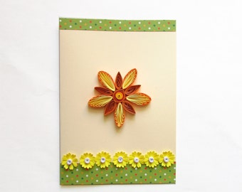 Mother's Day Card, Blank Birthday Card, Handmade Quilling Card, Thanksgiving Card, Flower Card