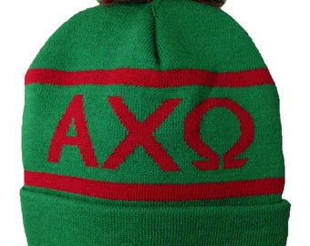 Alpha Chi Omega Knit Beanie Pom Winter Hat - Old Colors