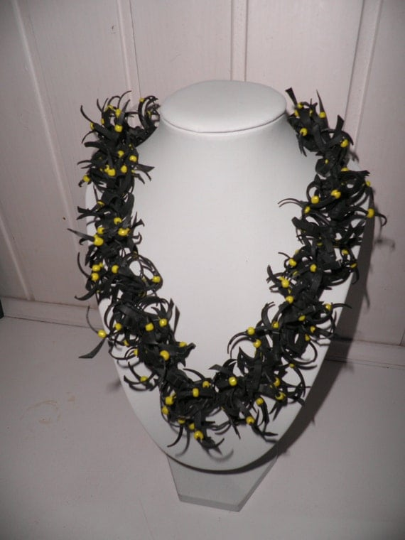 Handmade necklace black rubber necklace necklace with little yellow
