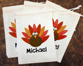 Turkey Favor Bags - Thanksgiving Placecards / Thanksgiving Name Tags / Kids Holiday Table Setting / Turkey Goody Bag / Favor Gift Treat Bags