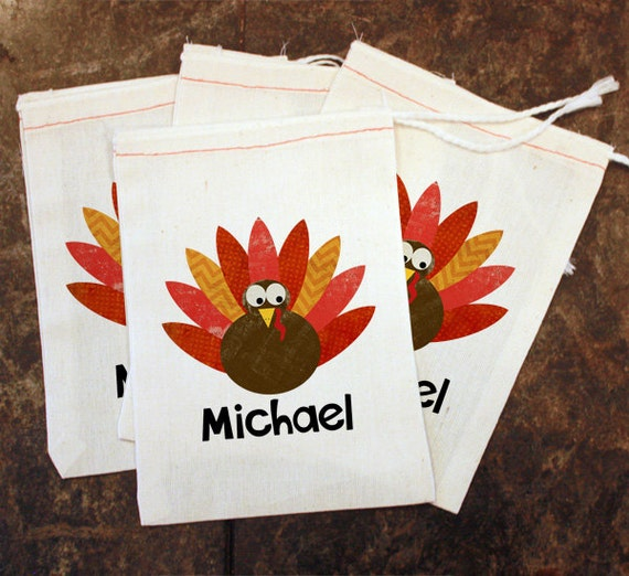 Turkey Favor Bags - Thanksgiving Placecards / Thanksgiving Table Setting / Kids Holiday Decor / Turkey Goodie Bag / Favor Gift Treat Bags