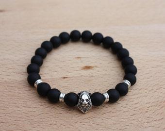 Men's Matte Onyx Lion Bracelet