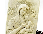 Vintage Madonna and Child,  Unique Mt. Pinatubo Volcanic Ash Sculpted 3 Dimensional Wall Hanging, Shabby Home Decor,  Religious Plaque