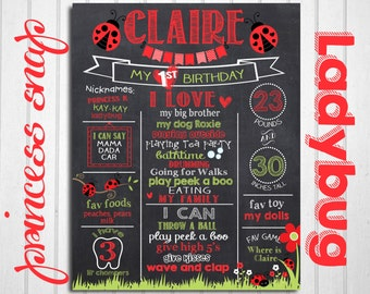 Ladybug First Birthday Chalkboard Poster - Lady Bug 1st Birthday Chalk Board Sign - Printable Photo Prop