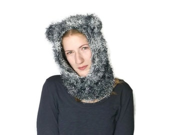 Grey fuzzy hand knitted cat cowl  kitty hood with ears