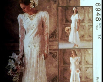 McCall's 6948  Misses' Bridal Gowns And Bridesmaids' Dresses   Size 12  UNCUT