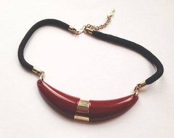 Vintage Rope Necklace with Gold and Red Accents