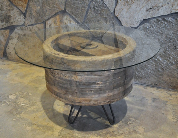 Wooden Wheel Table ~ Wooden pulley wheel side coffee table by branchesfurniture